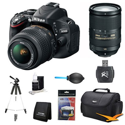 D5100 DX-format Digital SLR Body w/ 18-55mm VR and 18-300mm ED VR Pro Lens Kit