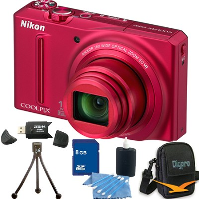 COOLPIX S9100 12MP Red Digital Camera 8GB Bundle
