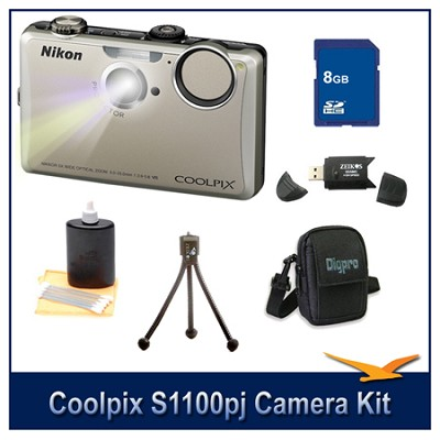 COOLPIX S1100pj Silver Digital Camera Kit w/ 8 GB Memory, Reader, Tripod, & More