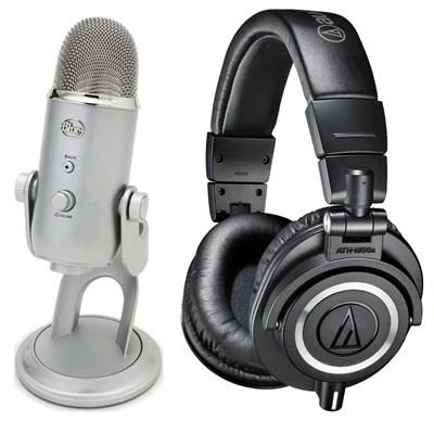 ATH-M50X Headphones + Blue Yeti USB Microphone Bundle Deal