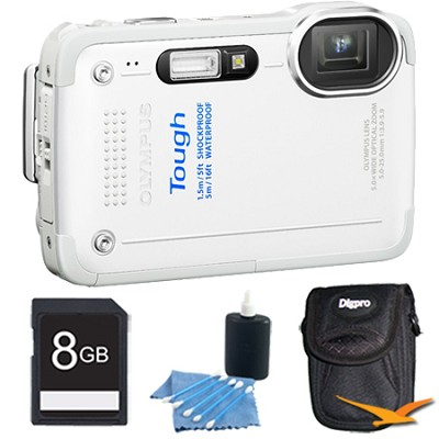 STYLUS TG-630 12MP 3-inch LCD 1080p HD Digital Camera White with 8GB Kit