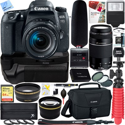 EOS 77D DSLR Camera + 18-55mm & 75-300mm Dual Lens Tascam Video Creator Bundle