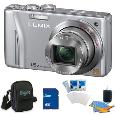 Lumix DMC-ZS8 14MP Silver Digital Camera w/ 16x Zoom 4GB Bundle