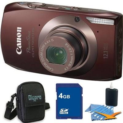 PowerShot ELPH 500 HS Brown Digital Camera 4GB Bundle