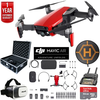 Mavic Air Fly More Combo Flame Red Drone Deluxe Fly Bundle & Warranty Extension
