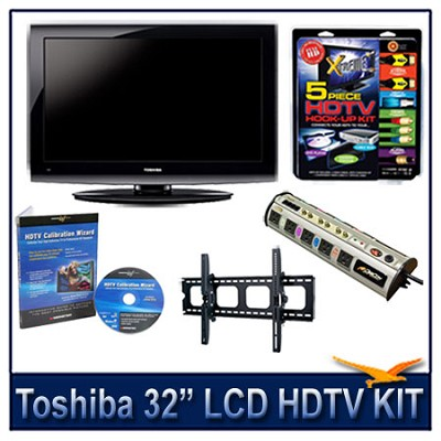 32` 720p LCD HDTV + Hook-up Kit + Power Protection + Calibration + Tilt Mount