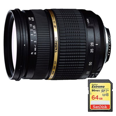 28-75mm F/2.8 SP AF Macro XR Di LD-IF For Canon w/ 64GB Memory Card