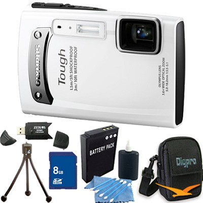 Tough TG-310 14 MP Water/Shock/Freezeproof Digital Camera White 8GB Kit