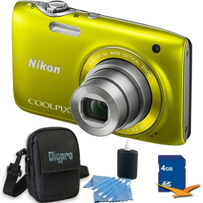 COOLPIX S3100 14MP Yellow Compact Digital Camera 4GB Bundle