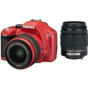 K-x Digital SLR Lens Kit w/ DA L 18-55mm and 50-200mm Lens Red