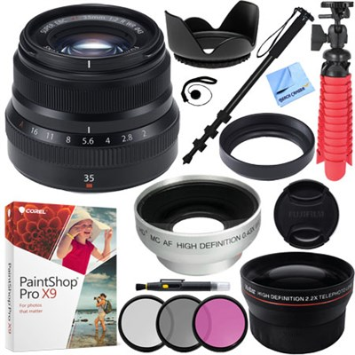 Fujinon XF35mm F2 R WR Black X-Mount Lens with 43mm Accessories Kit