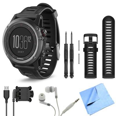 fenix 3 Multisport Training Gray GPS Watch Black Band Bundle