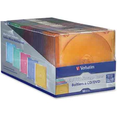 CD/DVD Color Slim Jewel Cases, Assorted - 50pk