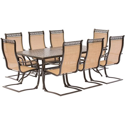 Manor 9PC Dining Set: 8 Spring Sling Chairs and 42 x84  Cast Table