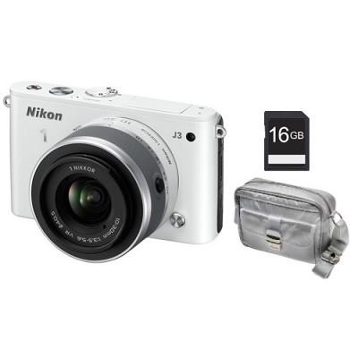 1 J3 14.2MP White Digital Camera with 10-30mm VR Lens Bundle Factory Refurbished