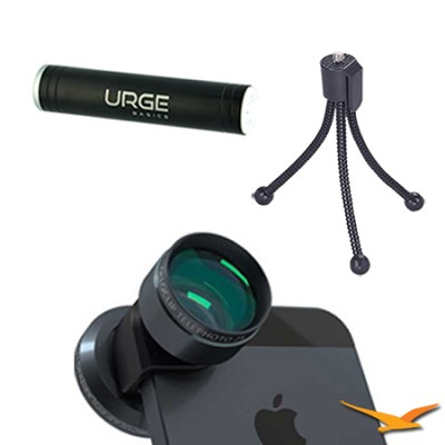 Telephoto Lens + Circular Polarizer for iPhone 4/4S (Black) Tripod/Power Bundle