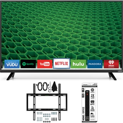 D43-D2 D-Series 43` 120Hz Full-Array LED Smart TV Slim Flat Wall Mount Bundle