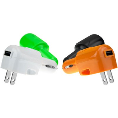 USB AC and DC Car and Wall Charger (White)