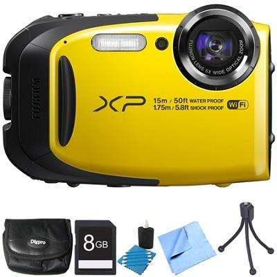 FinePix XP80 16MP Waterproof Digital Camera Yellow 8GB Bundle