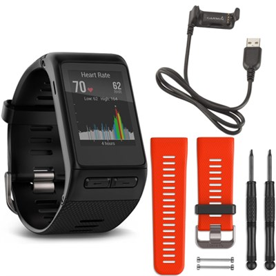 vivoactive HR GPS Smartwatch - X-Large Fit (Black) Lava Red Band Deluxe Bundle
