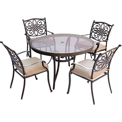 Traditions 5PC Dining Set: 4 Chairs and 48  Glass Table