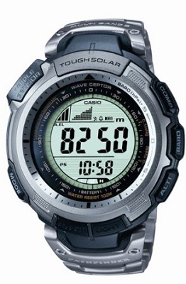PAW1300T-7V - Silver Pathfinder Multi-Band Atomic Solar Triple Sensor Watch