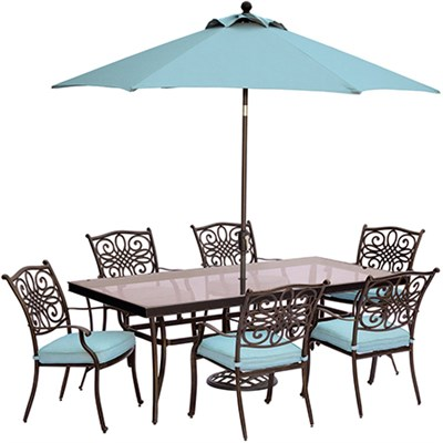Traditions 7PC Dining Set: 6 Chrs (Blue) 42 x84  Glass TableUmbStand