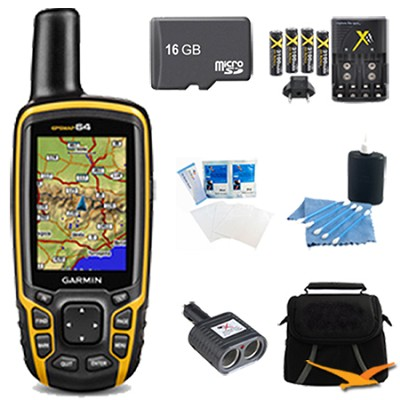 GPSMAP 64, Worldwide Handheld GPS Navigator 16GB Accessory Bundle - 010-01199-00