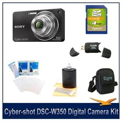 Cyber-shot DSC-W350 14.1 MP Digital Camera (Black) w/ 4GB Card, Case and More