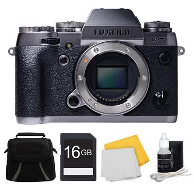 X-T1 Graphite Silver Mirrorless Digital Camera 16GB Bundle