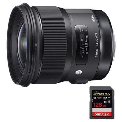 24mm f/1.4 DG HSM Wide Angle Lens (Art) for Sigma + 128GB Memory Card