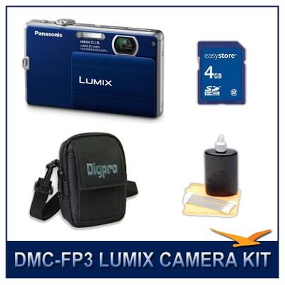 DMC-FP3AB LUMIX 14.1 MP Digital Camera (Dark Blue), 4GB SD Card, and Camera Case