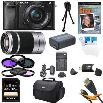Alpha a6000 24.3MP Camera with 16-50 and SEL 55-210 Lenses 32GB Kit