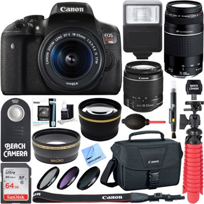 EOS Rebel T6i DSLR Camera w/ EF-S 18-55mm & 75-300mm IS II Lens 64GB Memory Kit