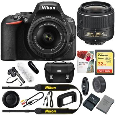 D5500 Black DX-format DSLR Camera + 18-55mm VR II Lens + Reporter Kit