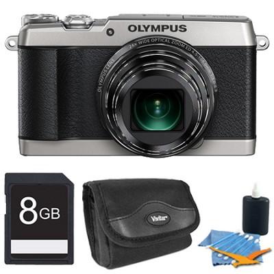 SH-1 16MP HD 1080p 24x Opt Zoom Digital Camera Silver 8 GB Kit