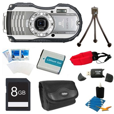 WG-4 16MP HD 1080p Waterproof Digital Camera Silver 8GB Kit