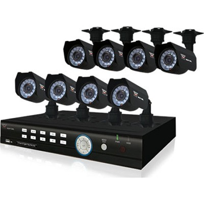 8 Channel 500GB DVR Kit with 8 Cameras - Smart Phone Compatible