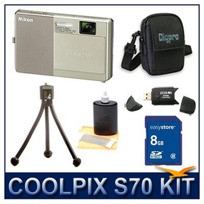 COOLPIX S70 12MP 3.5 inch Touchscreen Digital Camera (Beige) w/ 8 GB Memory Kit