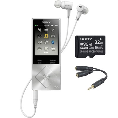 64GB Hi-Res Walkman Digital Music Player - Silver w/ 32GB Memory Card Bundle