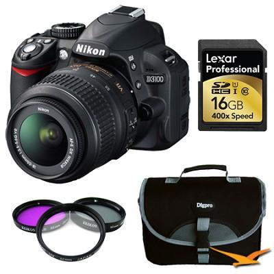 D3100 14MP DX-format Digital SLR Kit w/ 18-55mm Lens 16 GB Deluxe Bundle
