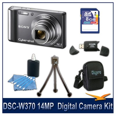 Cyber-shot DSC-W370 14MP Silver Digital Camera   with 8GB Card, Case, and More