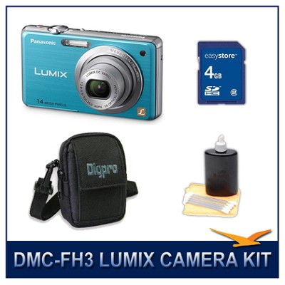 DMC-FH3A LUMIX 14.1 MP Digital Camera (Blue), 4GB SD Card, and Camera Case