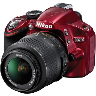 Refurbished D3200 24.2 MP 1080P D-SLR Camera with 18-55mm VR Zoom Lens (Red)