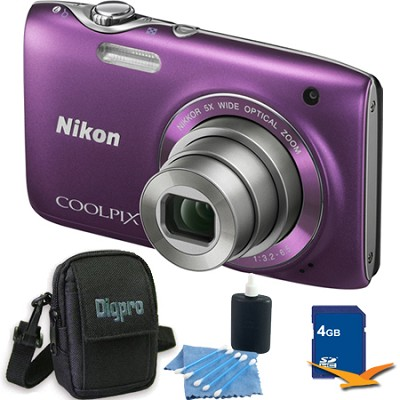 COOLPIX S3100 14MP Purple Compact Digital Camera 4GB Bundle