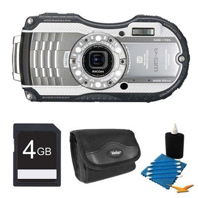 WG-4 16MP HD 1080p Waterproof Digital Camera Silver 4GB Kit