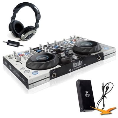 DJ Console 4-MX Bonus Genius Headphones & Pyle Headphone Amplifier Kit