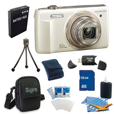 16 GB Kit VR-340 16MP 10x Opt Zoom 3-inch LCD Digital Camera - White