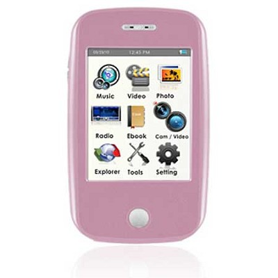 E6 Series - 4GB MP3 Video Player w/ 3` Touchscreen, Camera w/ Video - Pink