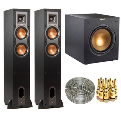 Klipsch R-24F Floorstanding Speaker + Klipsch Floorstanding Speaker + Wireless Subwoofer + 5-Pair Banana Plugs + Trisonic 100ft.Wire Cable